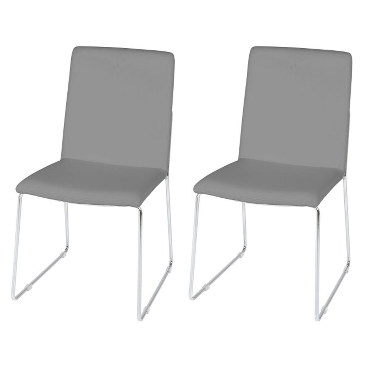 kitos light grey dining chairs faux leather chrome dining fads. Black Bedroom Furniture Sets. Home Design Ideas