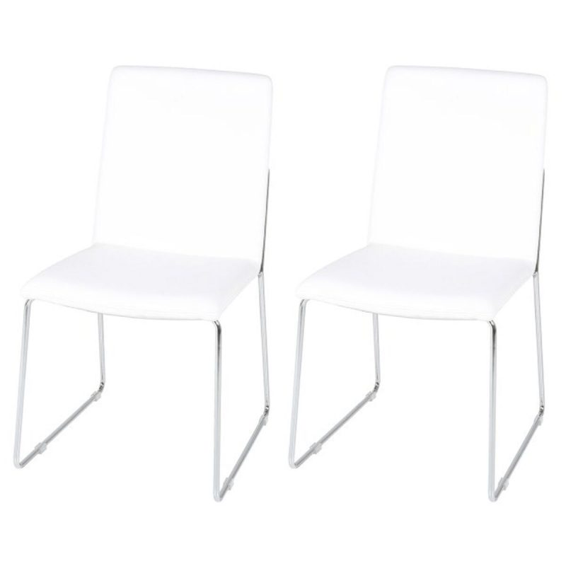 Kitos White Dining Chairs Faux Leather & Chrome
