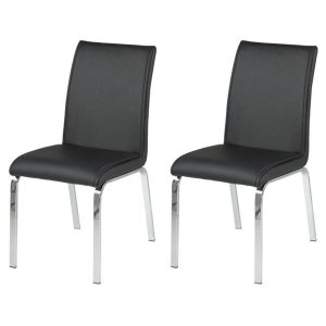 Leonora Black Faux Leather Dining Chairs