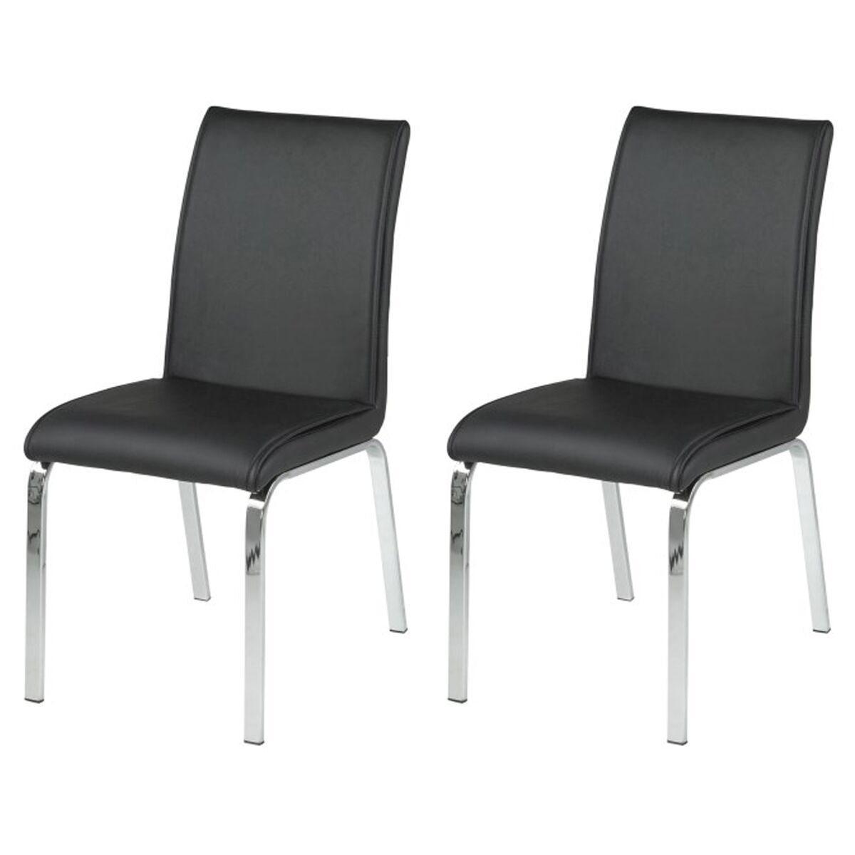 Leonora Black Faux Leather Dining Chairs Dining Chairs