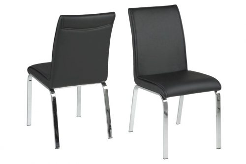 Leonora Black Faux Leather Dining Chairs 1