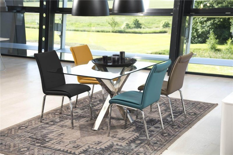 Leonora Taupe Faux Leather Dining Chairs 2