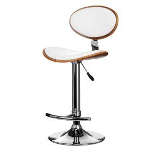 Miko White Faux Leather & Walnut Oval
