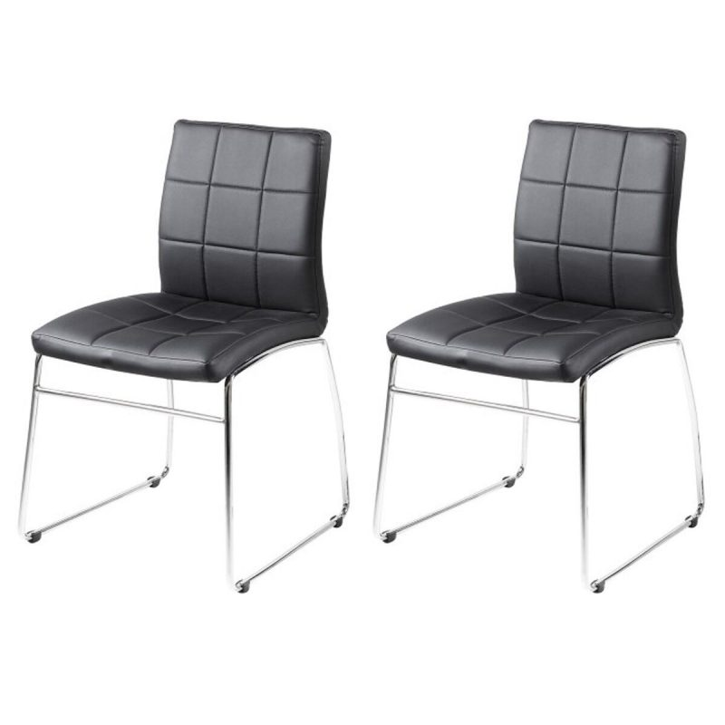 Milla Black Faux Leather Dining Chairs