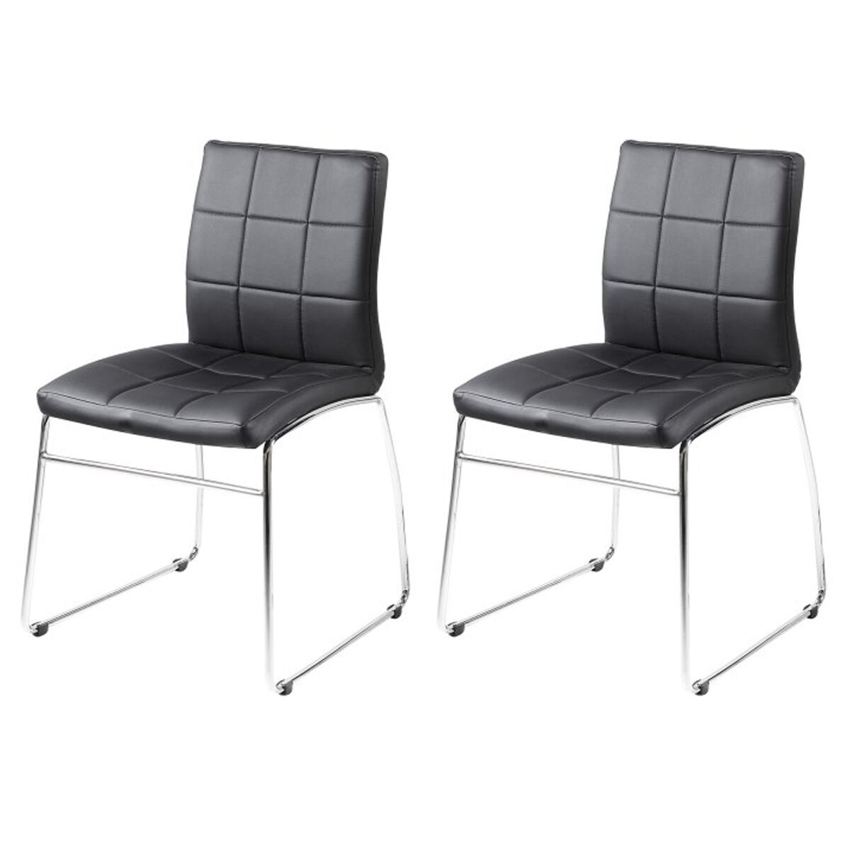 Milla Black Faux Leather Dining Chairs Pair Dining