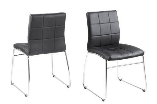 Milla Black Faux Leather Dining Chairs 4
