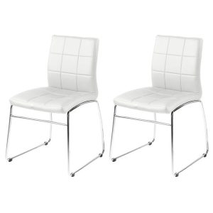 Milla White Faux Leather Dining Chairs 1