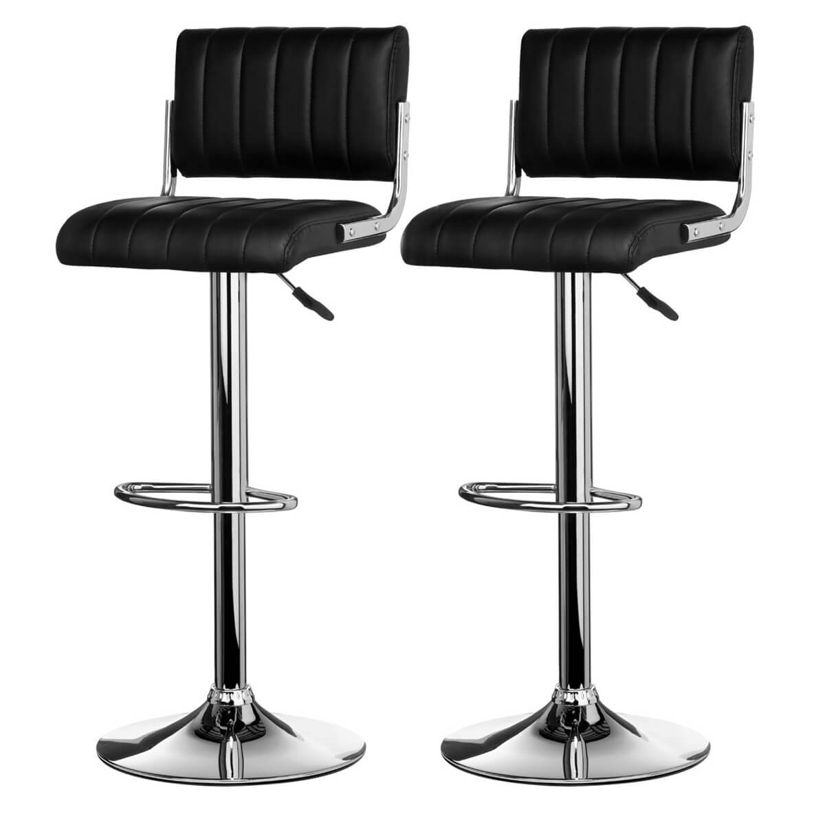 Image of: Neo Bar Stool Black Faux Leather Modern Bar Stools Fads