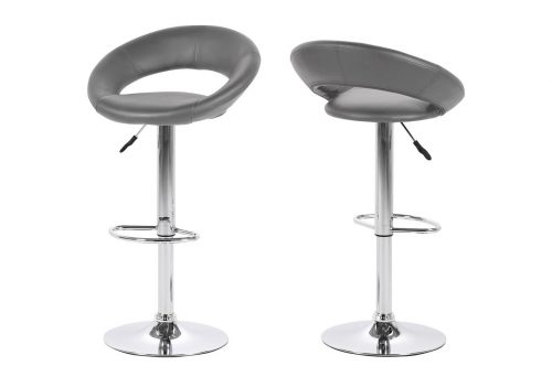 Caspian Faux Leather Grey Bar Stools