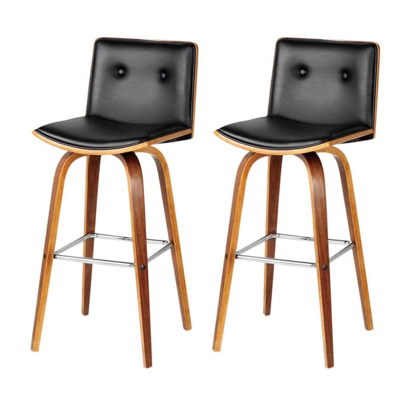 Prime Bar Stool Black Faux Leather Buttoned Back