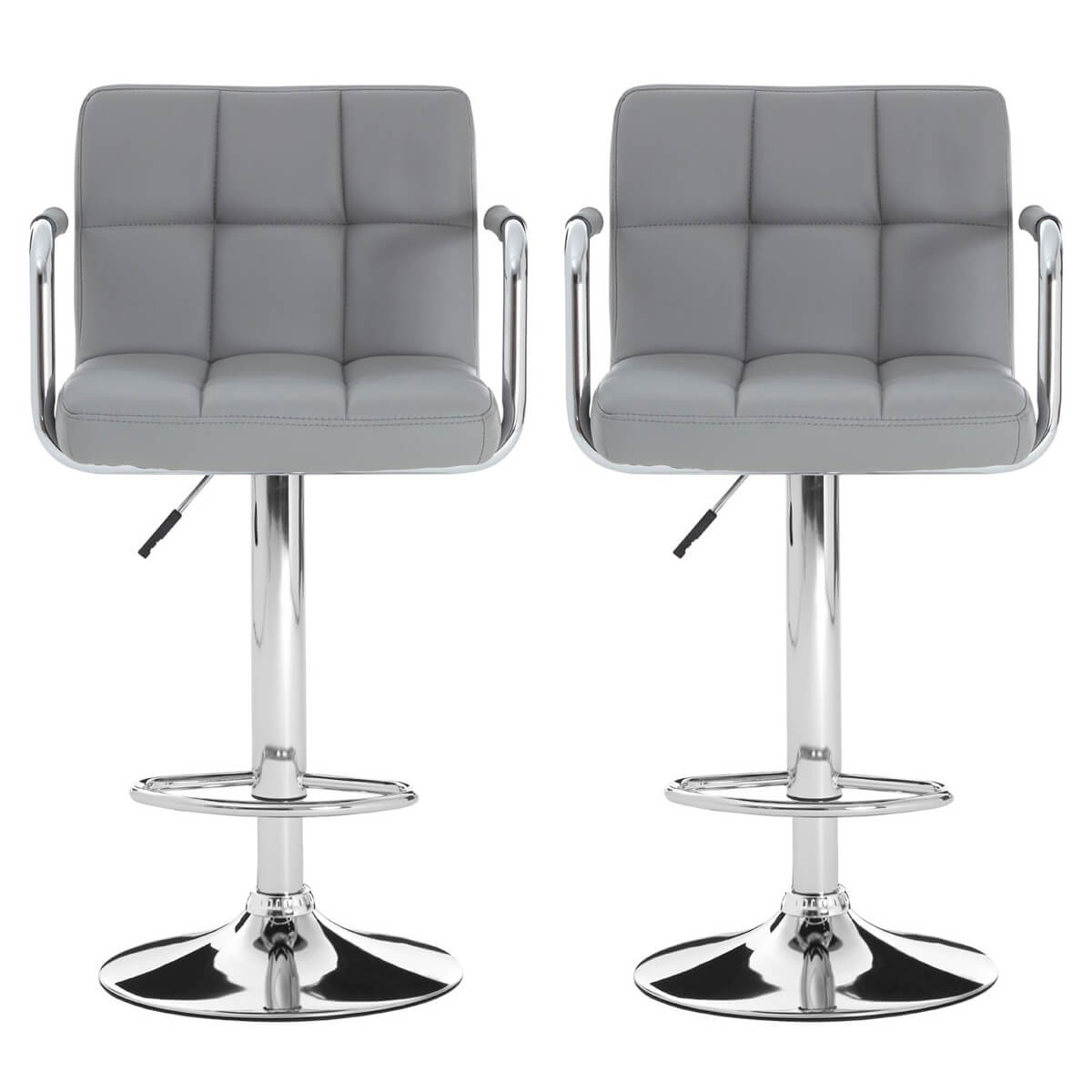 Stars Grey Faux Leather Bar Stool Amp Chrome Free Delivery