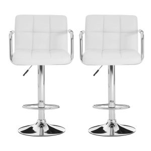 Stars Bar Stools White Faux Leather