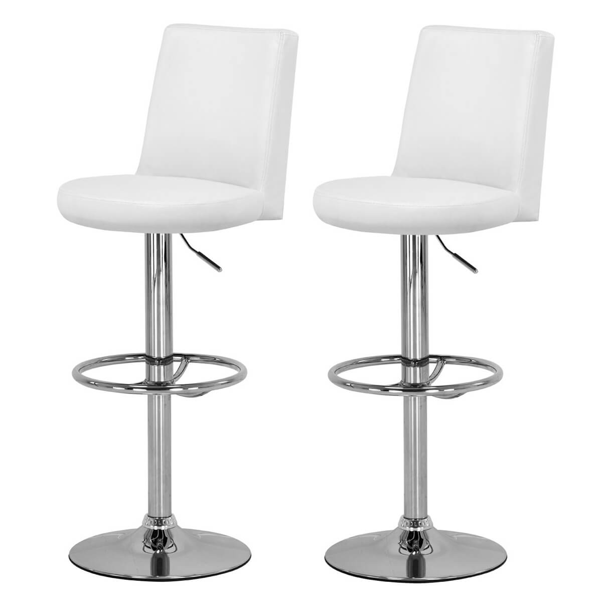 Picture of: Tina White Faux Leather Bar Stool Fads