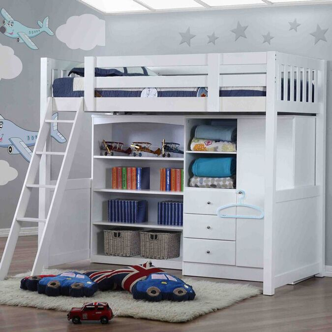 Willow White High Sleeper With Bookcase And Wardrobe