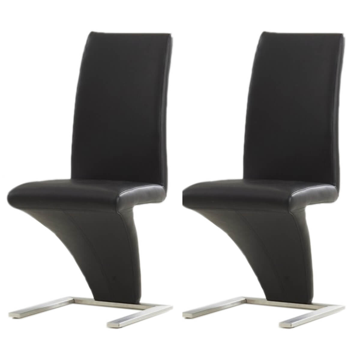 Black Z Shaped Dining Chairs Faux Leather | Dining Chairs | FADS