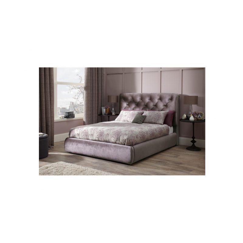 Alexandra Lilac Fabric Bed Frame 10