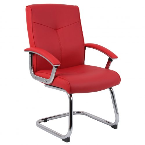 Cannes contemporary office chair red leather 2
