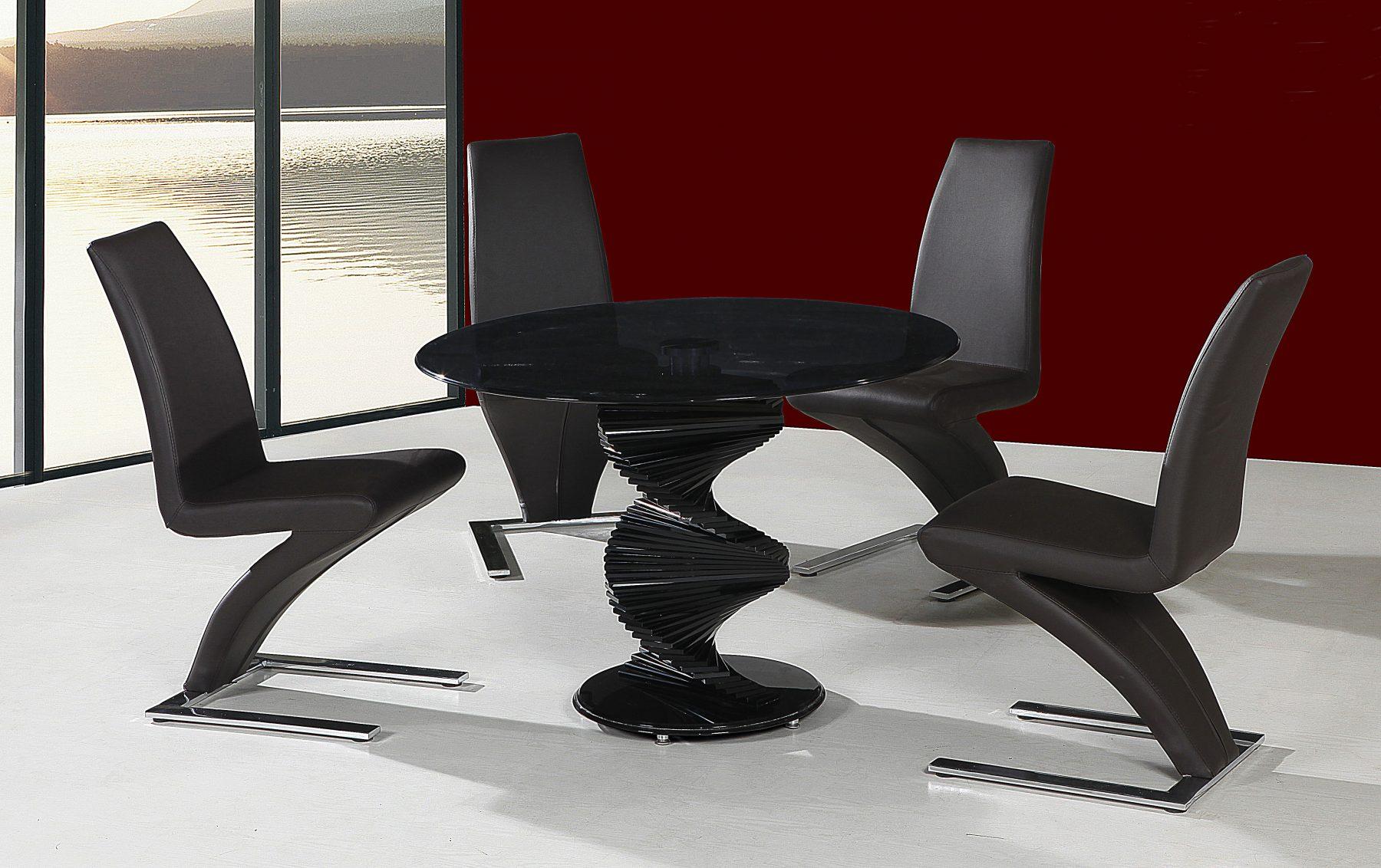 Twirl Black Glass Dining Table 2