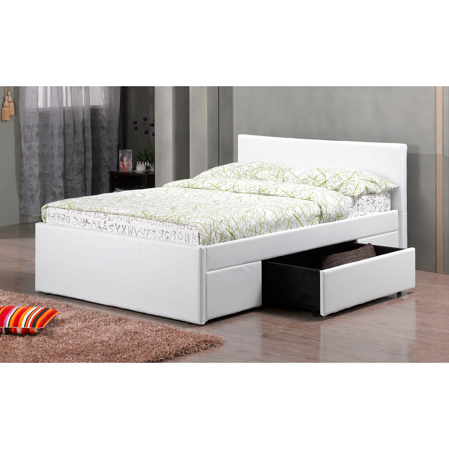Faith faux leather storage bed frame faux leather bed fads - Single leather bed with drawers ...