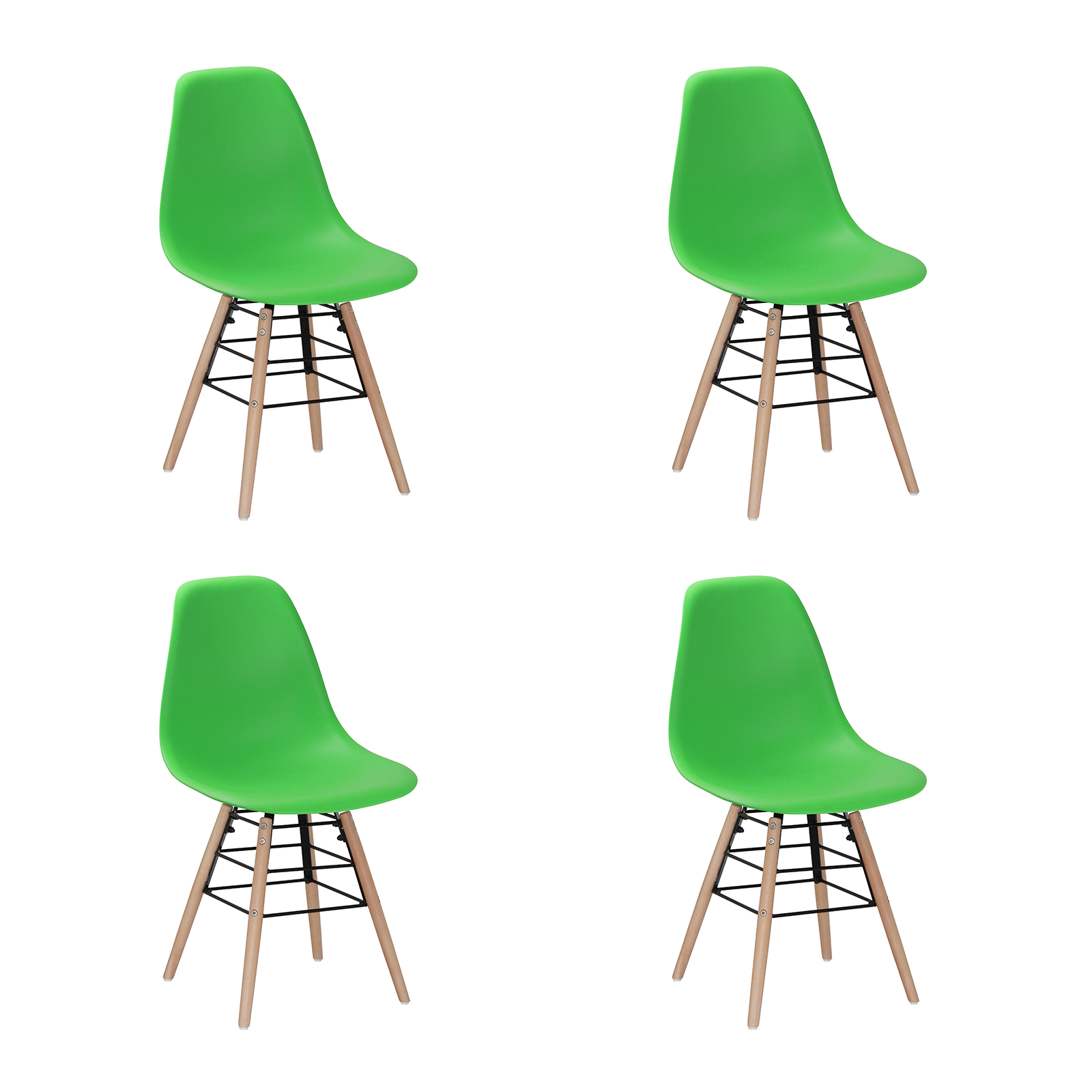 Classic Wooden Sofa Set, River Eames Inspired Bright Coloured Green Chairs Dining Chairs Fads