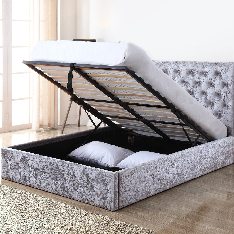 Monet Silver Crushed Velvet Ottoman Bed Storage Beds Fads