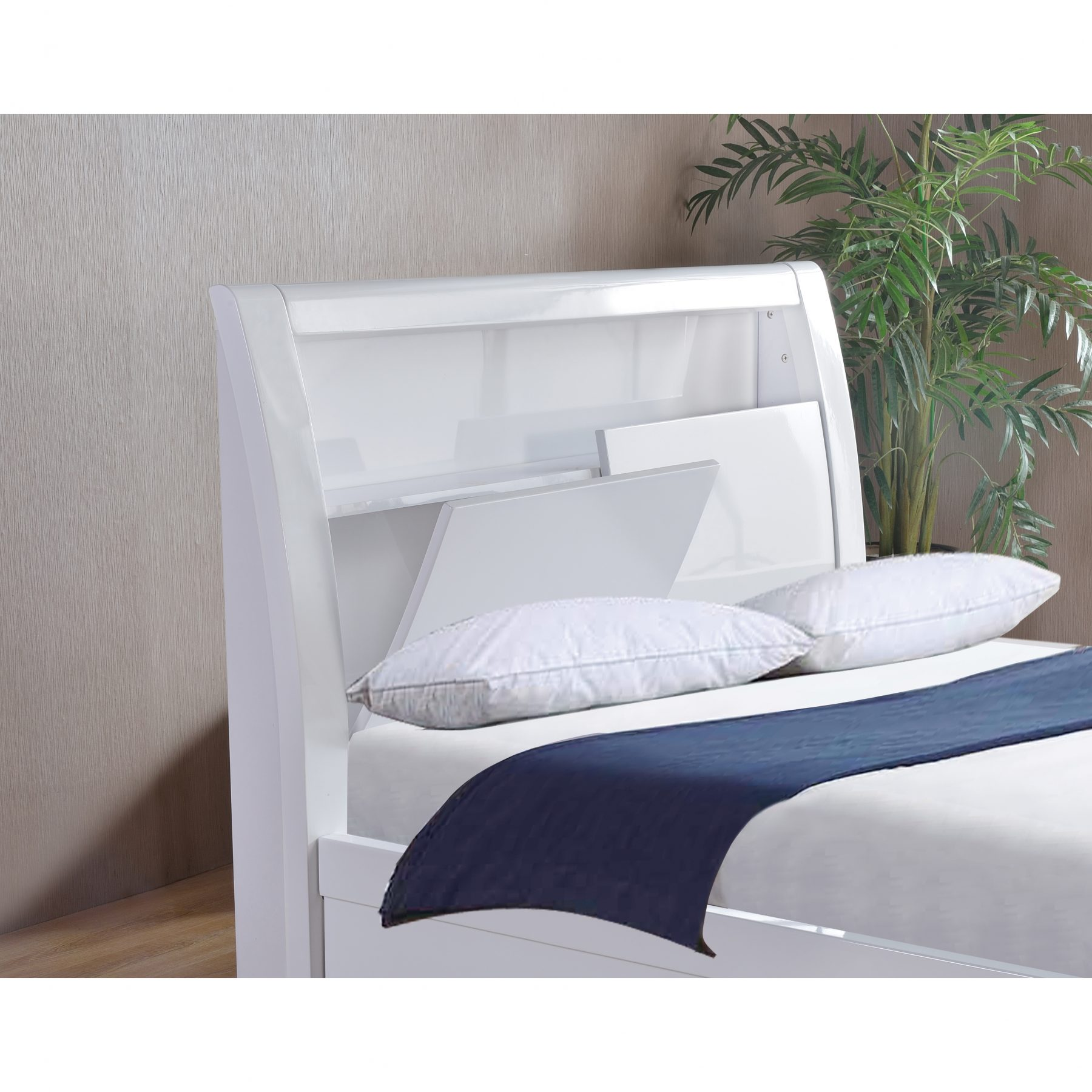 Tolga White High Gloss Storage Bed Frame Storage Beds Fads