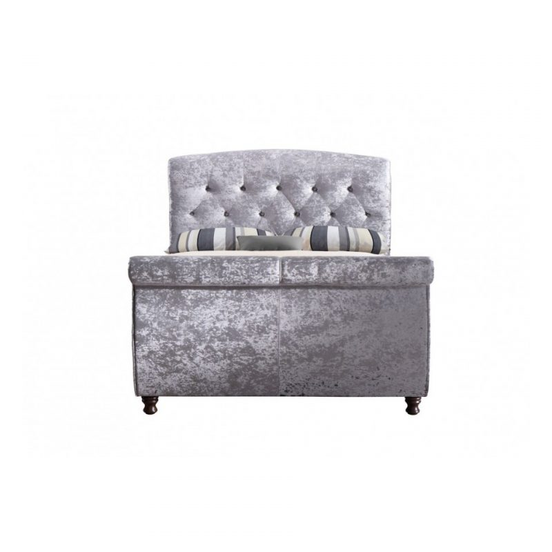 Toulouse Silver Crushed Velvet Sleight Bed 1