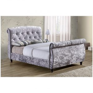 Toulouse Silver Crushed Velvet Sleight Bed 2