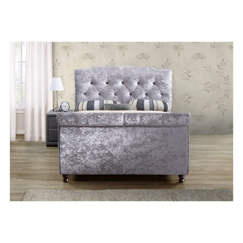 Toulouse Silver Crushed Velvet Sleight Bed 3