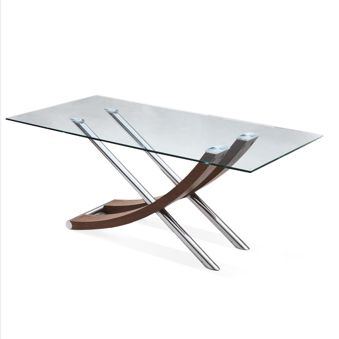 Xantos Clear Glass and Walnut Dining Table 6 Seater