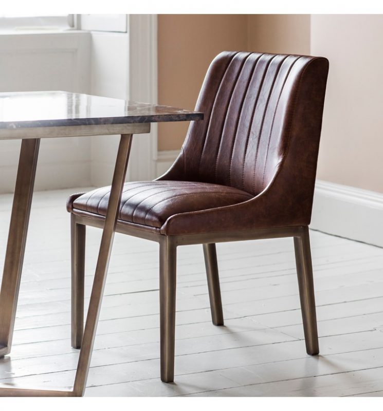 Clayton Dining Chairs Cognac Faux Leather (Pair) | FADS