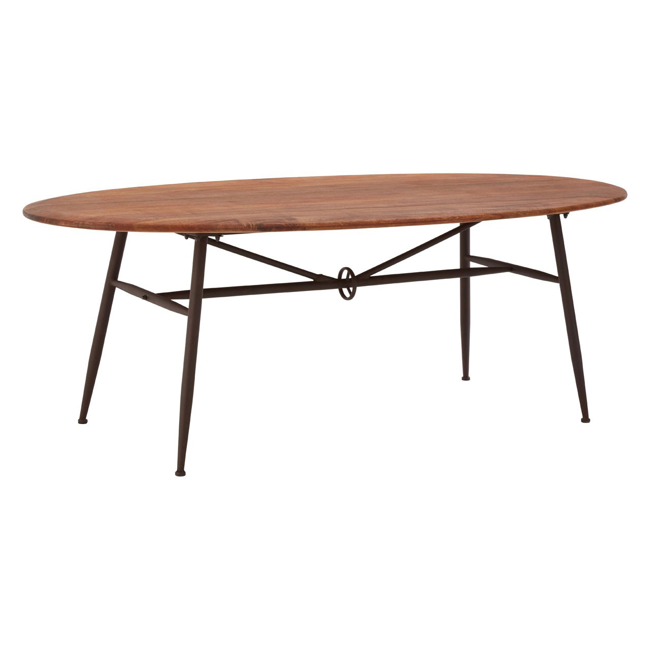 foundry oval walnut dining table industrial. Black Bedroom Furniture Sets. Home Design Ideas