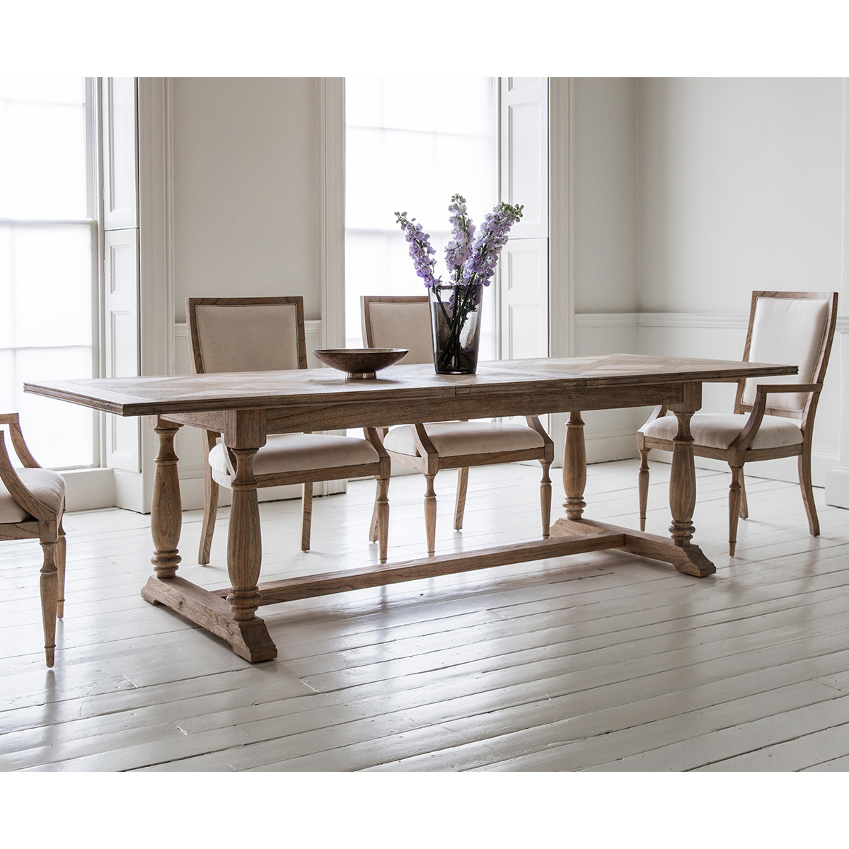 French Colonial Rectangular Extending Dining Table with Chai