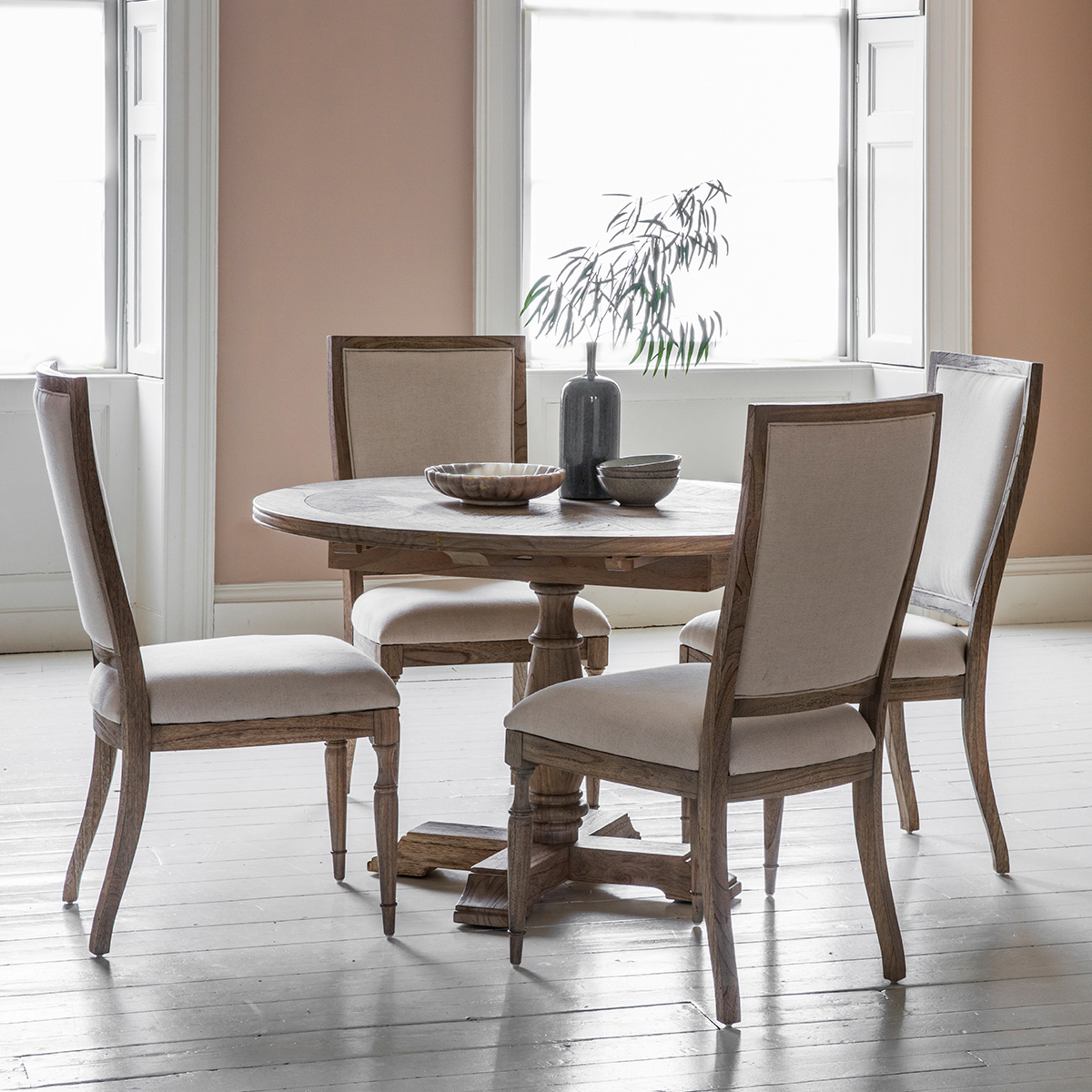 French Colonial Round Extending Dining Table with Chairs (Number of Chairs: 6 Carver Chairs)