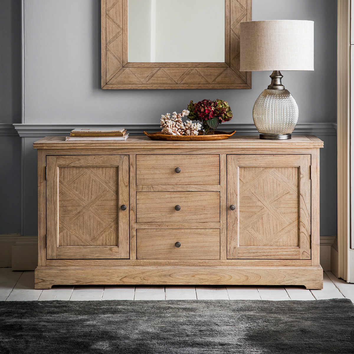 French Colonial 2 Door 3 Drawer Sideboard