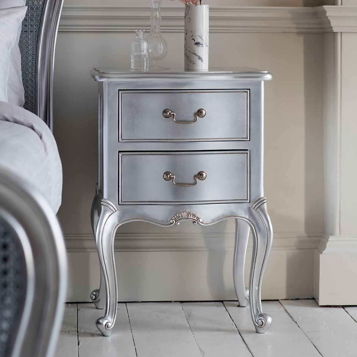 Madeleine bedside drawers in silver at FADS.co.uk