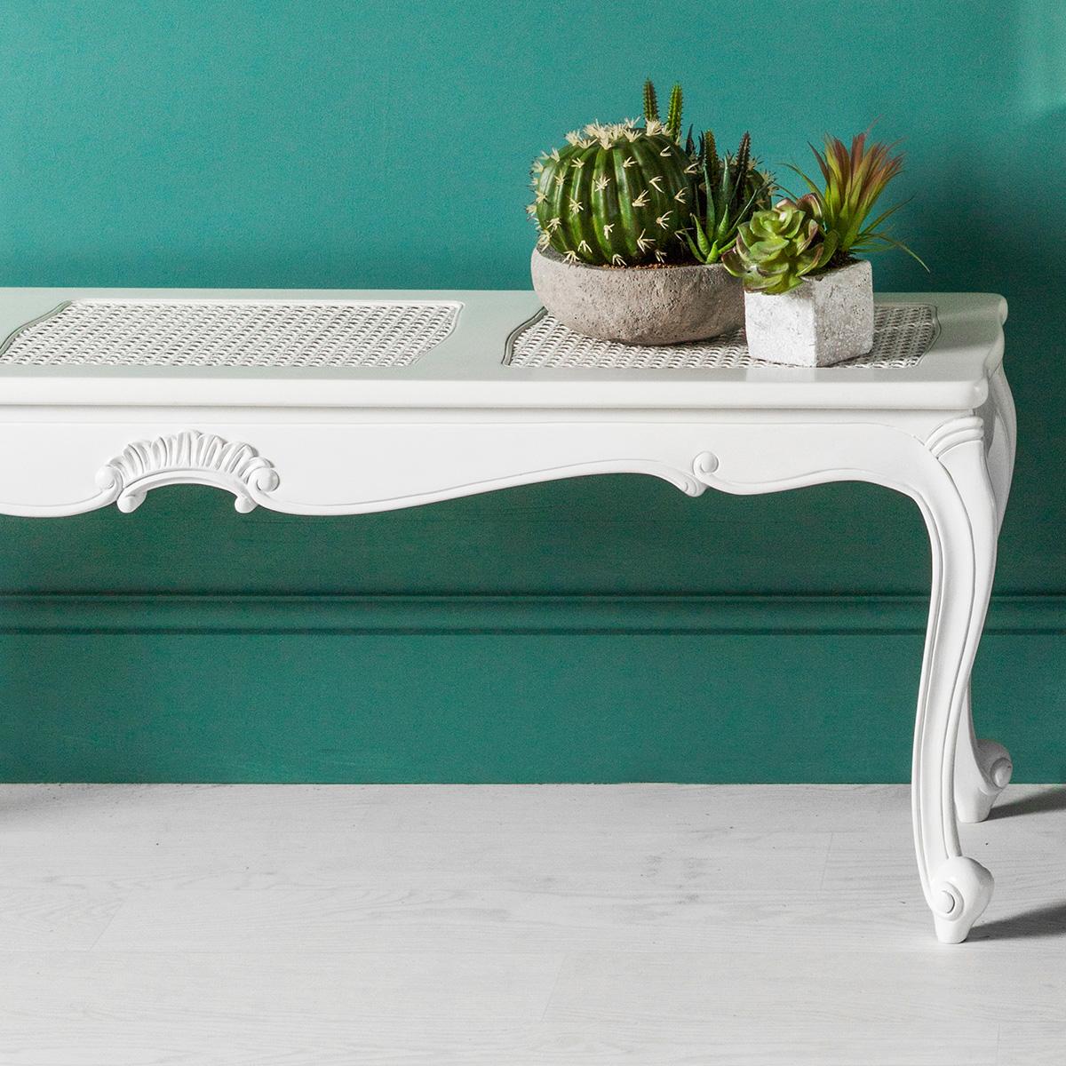 Madeleine Rococo Cane Work Bench (Finish: Chalk)