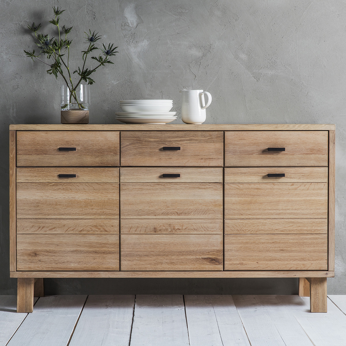 Narrative Solid Oak Sideboard 3 Drawers & Amp Doors Fads