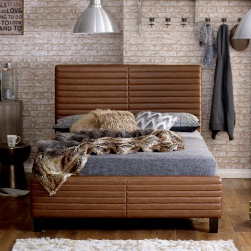 Ezra Tan Bonded Leather Bed Frame