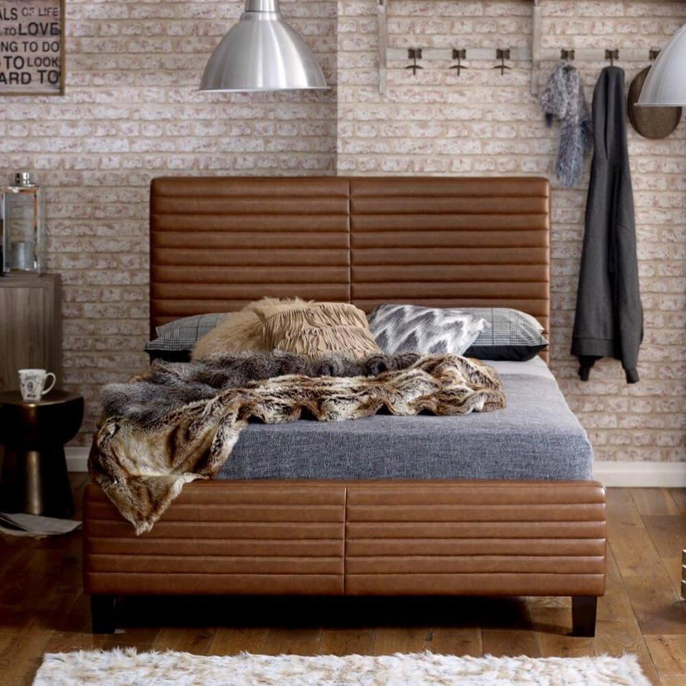 Ezra Tan Bonded Leather Bed Frame Upholstered Beds Fads