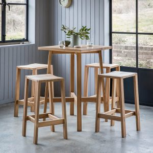 Narrative solid oak bar set table stools