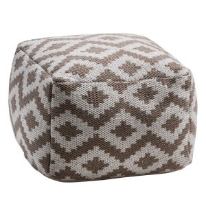 Aztec brown pouffe footstool