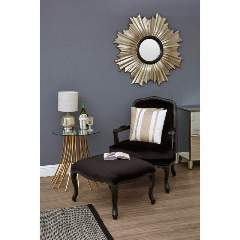 Baroque armchair and footstool black velvet at FADS.co.uk
