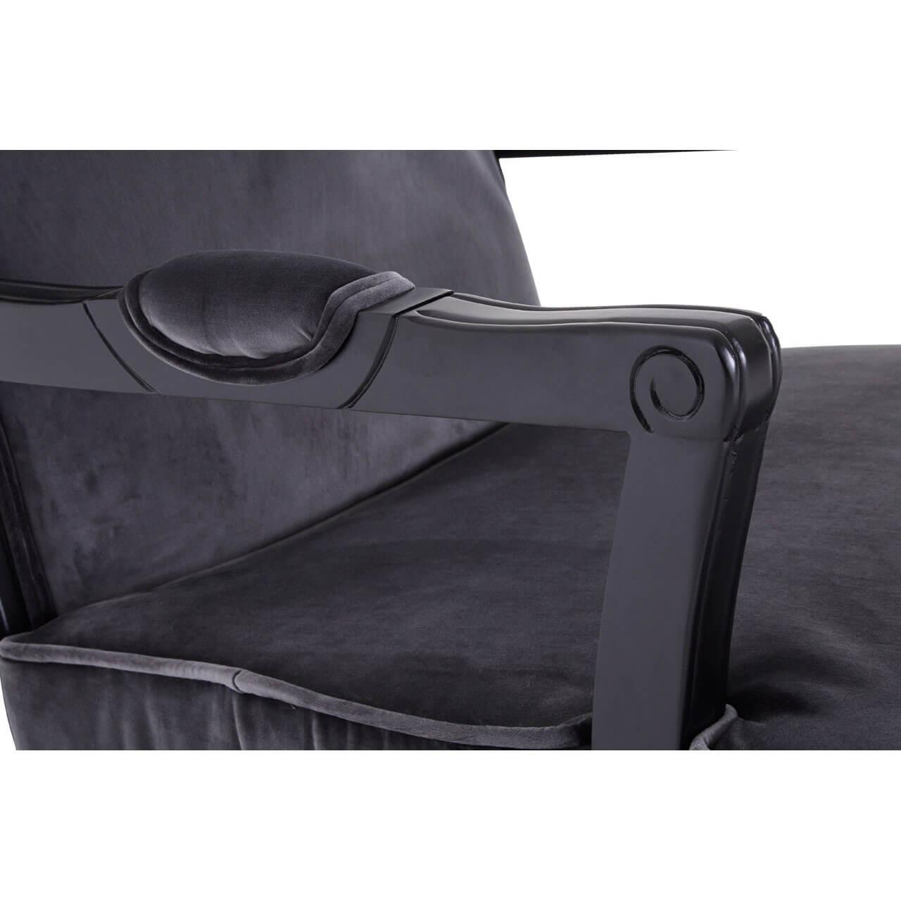 Baroque Armchair Footstool Black Grey Orange Velvet Fads # Meuble Tv Style Baroque