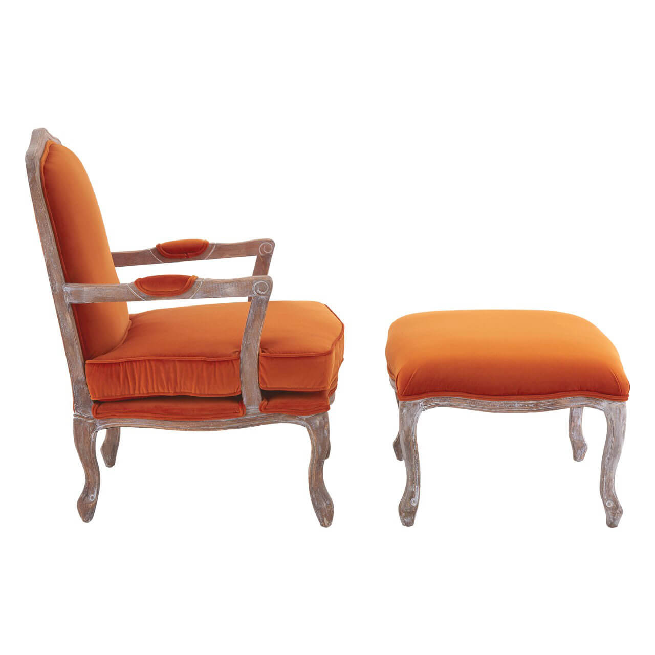Baroque Armchair Amp Footstool Black Grey Orange Velvet Fads