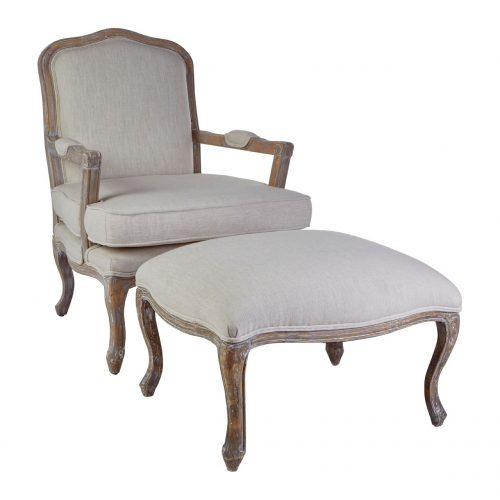Baroque chair & footstool neutral linen at FADS.co.uk