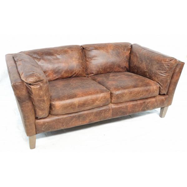 Barton 2 Seater Club Sofa - brown leather