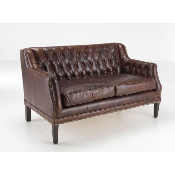 Chichester-leather-2-seater-sofa-button-back-brown