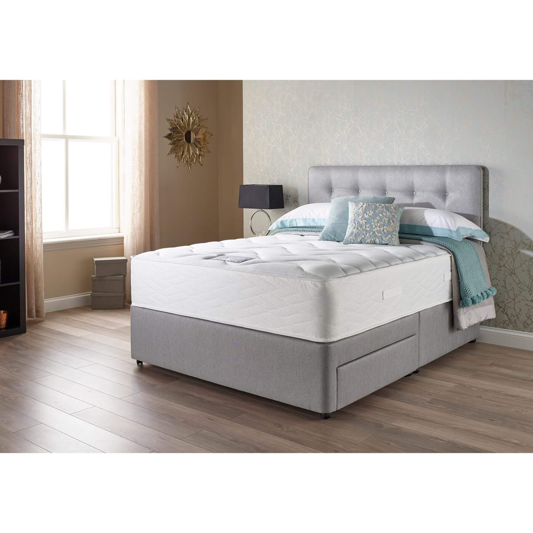 Myers Extra Memory Comfort 1400 Mattress & Base Divan Set - choice of bases and fabric colours (Base Height: Standard Height Divan, Fabric Colour: