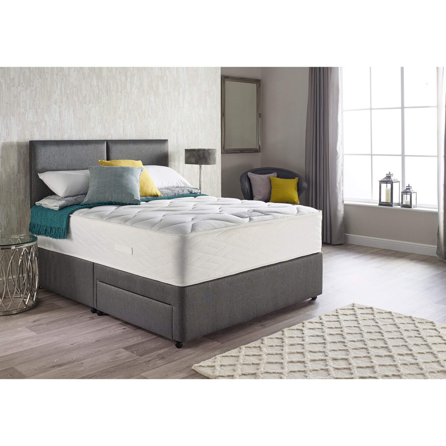 Myers Extra Latex Comfort 1800 Mattress & Base Divan Set - choice of bases and fabric colours (Fabric Colour: Granite, Storage Type: 4 Drawers, Be